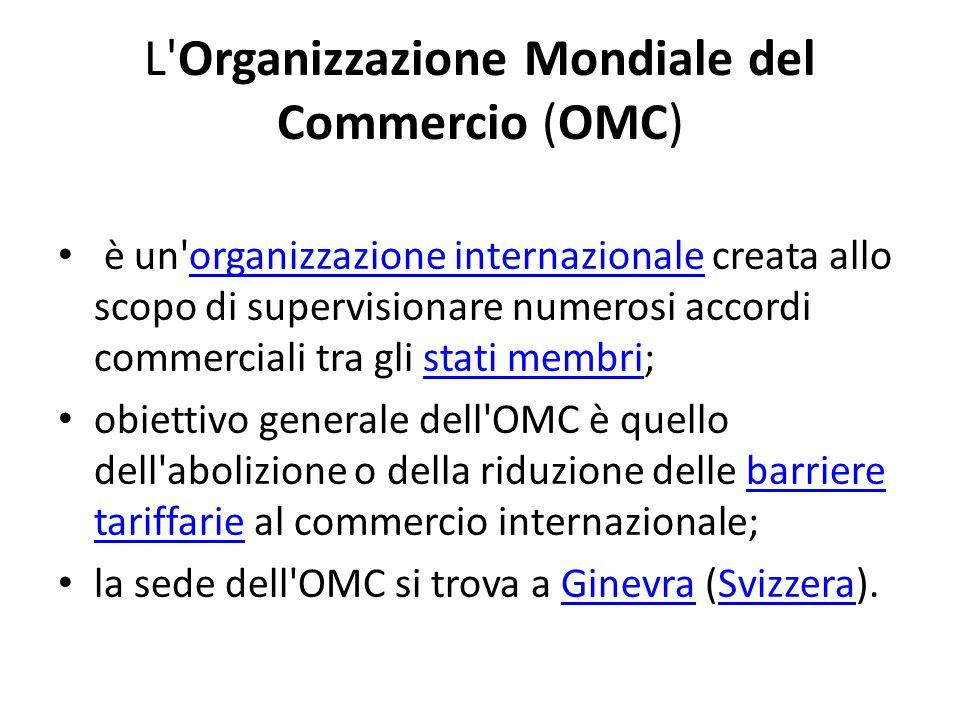 L'Organizzazione Mondiale del Commercio (OMC) è un'organizzazione internazionale creata allo scopo di supervisionare numerosi accordi commerciali tra