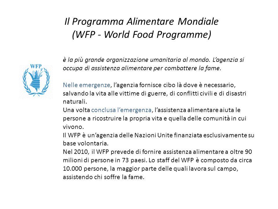 Il Programma Alimentare Mondiale (WFP - World Food Programme) è la più grande organizzazione umanitaria al mondo. L'agenzia si occupa di assistenza al
