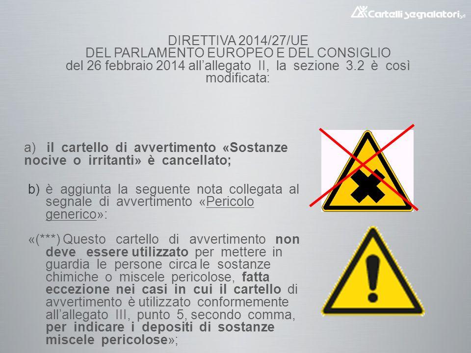 DIRETTIVA 2014/27/UE DEL PARLAMENTO EUROPEO E DEL CONSIGLIO del 26 febbraio 2014 all'allegato II, la sezione 3.2 è così modificata:  è aggiunta la seguente nota collegata al segnale di avvertimento «Pericolo generico»: «(***) Questo cartello di avvertimento non deve essere utilizzato per mettere in guardia le persone circa le sostanze chimiche o miscele pericolose, fatta eccezione nei casi in cui il cartello di avvertimento è utilizzato conformemente all'allegato III, punto 5, secondo comma, per indicare i depositi di sostanze miscele pericolose»; a) il cartello di avvertimento «Sostanze nocive o irritanti» è cancellato;