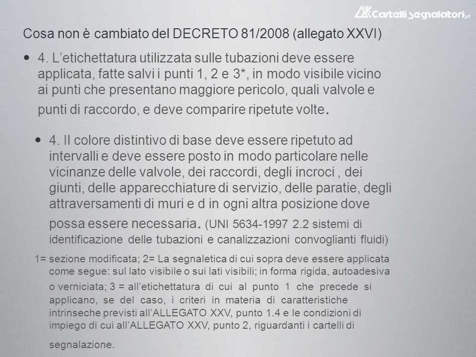 Cosa non è cambiato del DECRETO 81/2008 (allegato XXVI) 4.