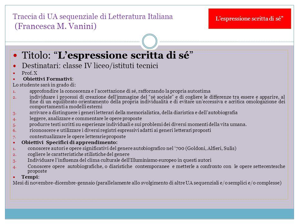 """Traccia di UA sequenziale di Letteratura Italiana (Francesca M. Vanini) Titolo: """"L'espressione scritta di sé"""" Destinatari: classe IV liceo/istituti te"""