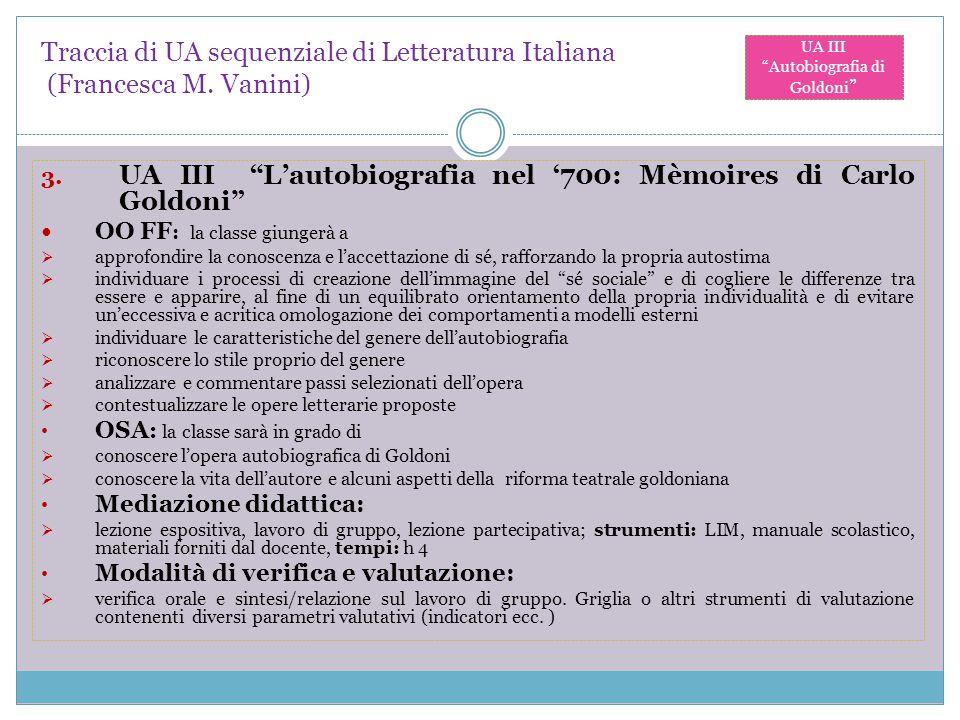"""Traccia di UA sequenziale di Letteratura Italiana (Francesca M. Vanini) 3. UA III """"L'autobiografia nel '700: Mèmoires di Carlo Goldoni"""" OO FF : la cla"""