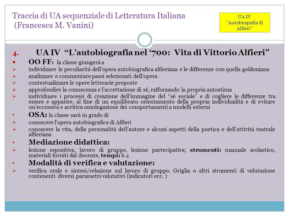 """Traccia di UA sequenziale di Letteratura Italiana (Francesca M. Vanini) 4. UA IV """"L'autobiografia nel '700: Vita di Vittorio Alfieri"""" OO FF : la class"""