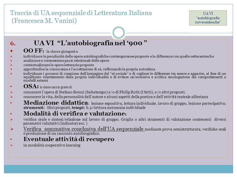 "Traccia di UA sequenziale di Letteratura Italiana (Francesca M. Vanini) 6. UA VI ""L'autobiografia nel '900 "" OO FF : la classe giungerà a  individuar"
