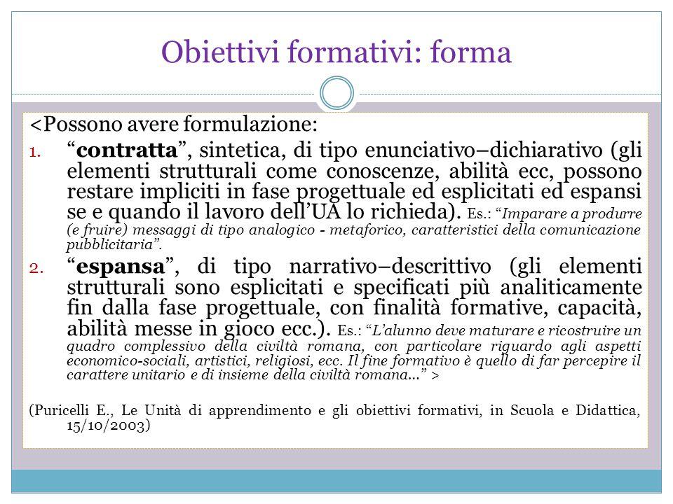 """Obiettivi formativi: forma <Possono avere formulazione: 1. """"contratta"""", sintetica, di tipo enunciativo–dichiarativo (gli elementi strutturali come con"""