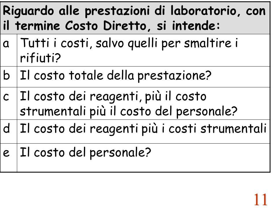 11 Riguardo alle prestazioni di laboratorio, con il termine Costo Diretto, si intende: aTutti i costi, salvo quelli per smaltire i rifiuti? bIl costo