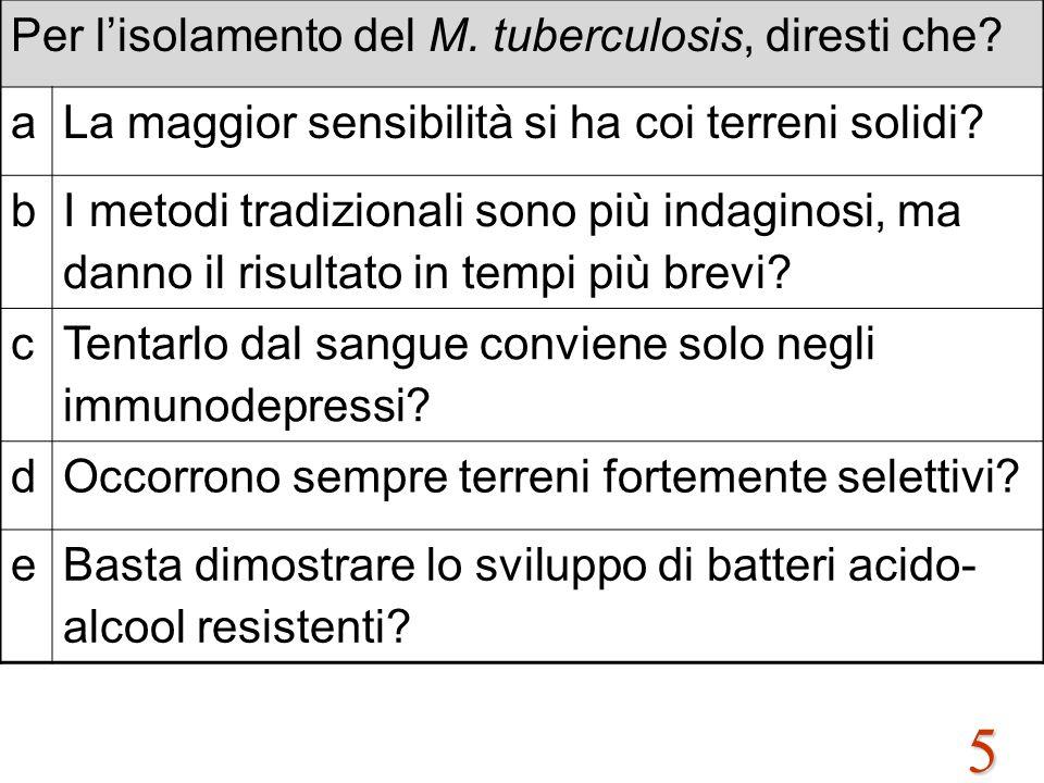 5 Per l'isolamento del M. tuberculosis, diresti che? aLa maggior sensibilità si ha coi terreni solidi? b I metodi tradizionali sono più indaginosi, ma