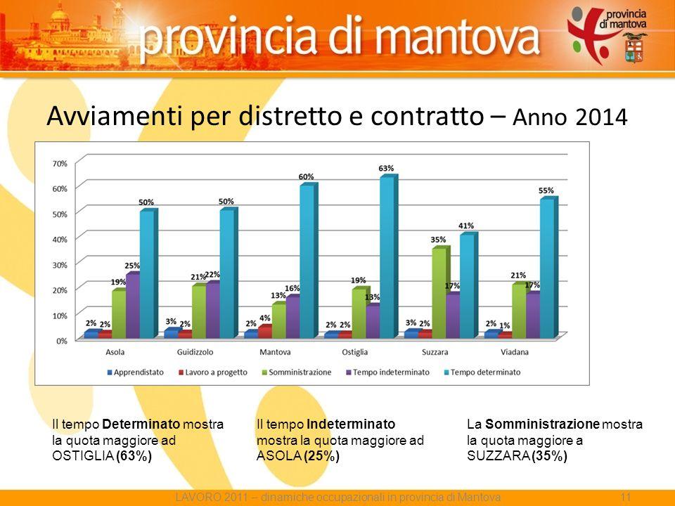 Avviamenti per distretto e contratto – Anno 2014 Il tempo Determinato mostra la quota maggiore ad OSTIGLIA (63%) Il tempo Indeterminato mostra la quota maggiore ad ASOLA (25%) La Somministrazione mostra la quota maggiore a SUZZARA (35%) LAVORO 2011 – dinamiche occupazionali in provincia di Mantova11