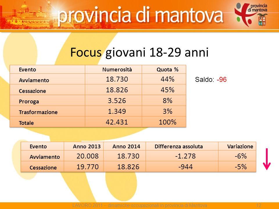 Focus giovani 18-29 anni Saldo: -96 LAVORO 2011 – dinamiche occupazionali in provincia di Mantova12
