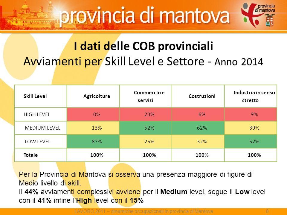 I dati delle COB provinciali Avviamenti per Skill Level e Settore - Anno 2014 Skill LevelAgricoltura Commercio e servizi Costruzioni Industria in senso stretto HIGH LEVEL0%23%6%9% MEDIUM LEVEL13%52%62%39% LOW LEVEL87%25%32%52% Totale100% Per la Provincia di Mantova si osserva una presenza maggiore di figure di Medio livello di skill.