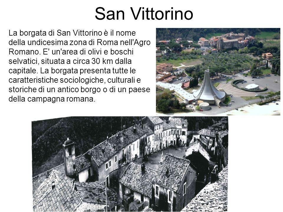 San Vittorino La borgata di San Vittorino è il nome della undicesima zona di Roma nell'Agro Romano. E' un'area di olivi e boschi selvatici, situata a