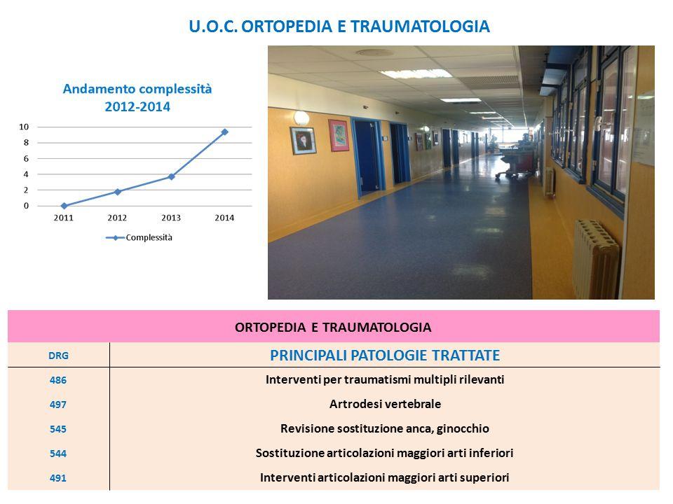ORTOPEDIA E TRAUMATOLOGIA DRG PRINCIPALI PATOLOGIE TRATTATE 486 Interventi per traumatismi multipli rilevanti 497 Artrodesi vertebrale 545 Revisione s
