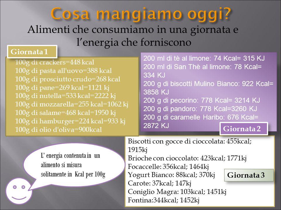 Alimenti che consumiamo in una giornata e l'energia che forniscono Biscotti con gocce di cioccolata: 455kcal; 1915kj Brioche con cioccolato: 423kcal;