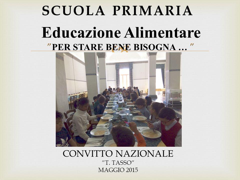 """ Educazione Alimentare """" PER STARE BENE BISOGNA … """" CONVITTO NAZIONALE """"T. TASSO"""" MAGGIO 2015"""