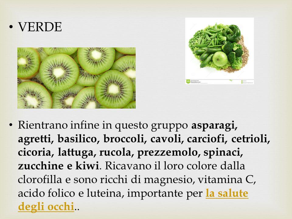 VERDE Rientrano infine in questo gruppo asparagi, agretti, basilico, broccoli, cavoli, carciofi, cetrioli, cicoria, lattuga, rucola, prezzemolo, spina