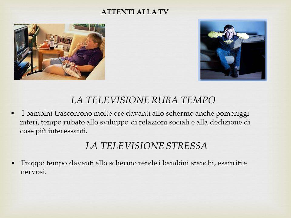 ATTENTI ALLA TV LA TELEVISIONE RUBA TEMPO  I bambini trascorrono molte ore davanti allo schermo anche pomeriggi interi, tempo rubato allo sviluppo di