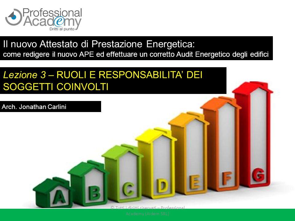 Lezione 3 – RUOLI E RESPONSABILITA' DEI SOGGETTI COINVOLTI Arch. Jonathan Carlini Il nuovo Attestato di Prestazione Energetica: come redigere il nuovo