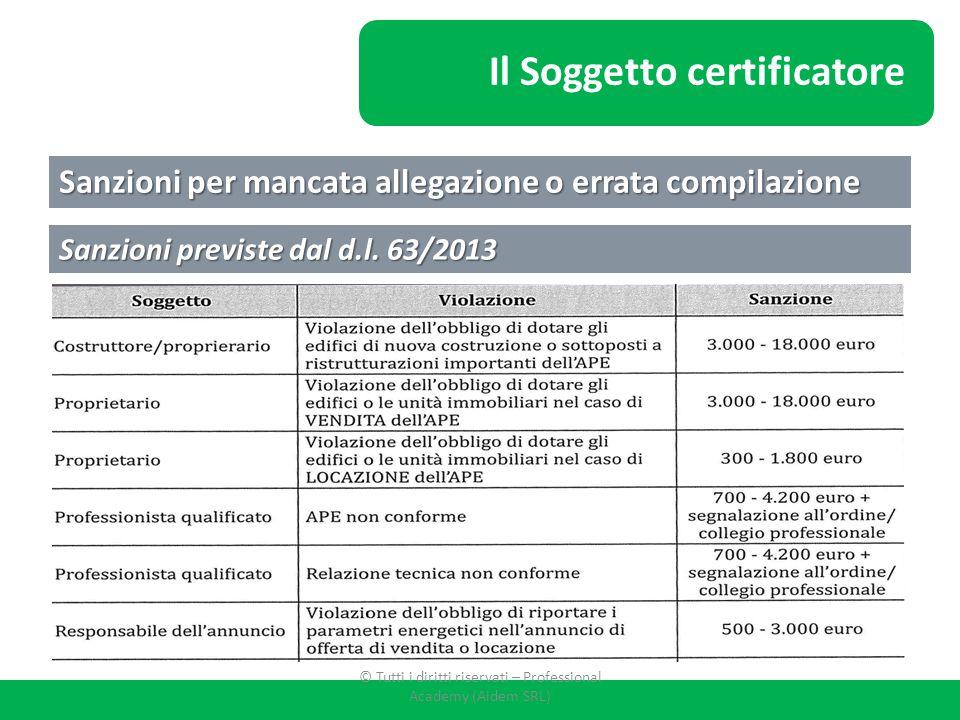 La Certificazione Energetica Sanzioni per mancata allegazione o errata compilazione Sanzioni previste dal d.l. 63/2013 Il Soggetto certificatore © Tut