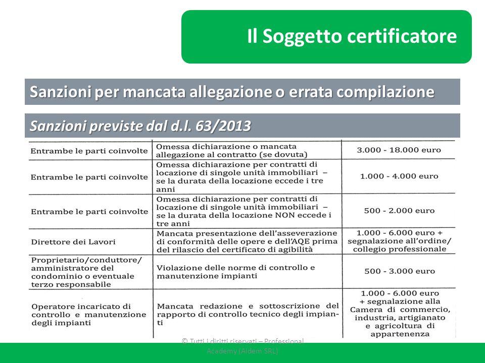 Sanzioni per mancata allegazione o errata compilazione Sanzioni previste dal d.l. 63/2013 Il Soggetto certificatore © Tutti i diritti riservati – Prof