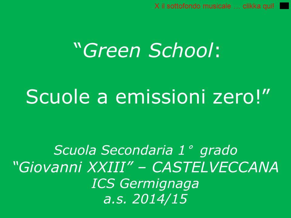 """""""Green School: Scuole a emissioni zero!"""" Scuola Secondaria 1° grado """"Giovanni XXIII"""" – CASTELVECCANA ICS Germignaga a.s. 2014/15 X il sottofondo music"""