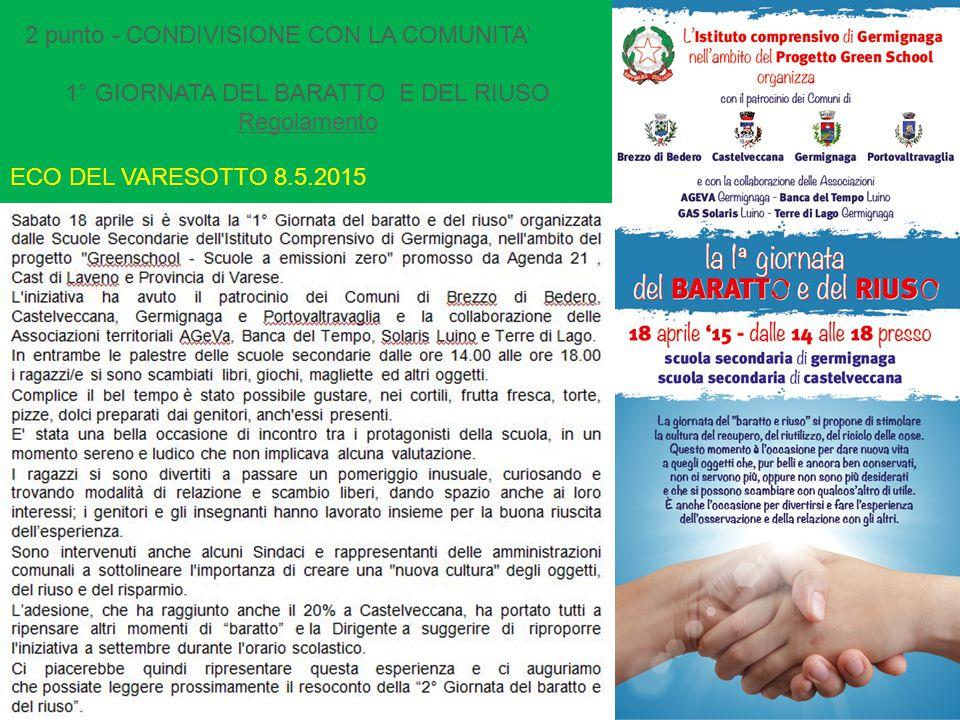 2 punto - CONDIVISIONE CON LA COMUNITA' 1° GIORNATA DEL BARATTO E DEL RIUSO Regolamento ECO DEL VARESOTTO 8.5.2015