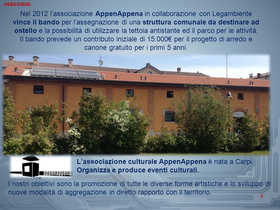 Nel 2012 l'associazione AppenAppena in collaborazione con Legambiente vince il bando per l'assegnazione di una struttura comunale da destinare ad oste