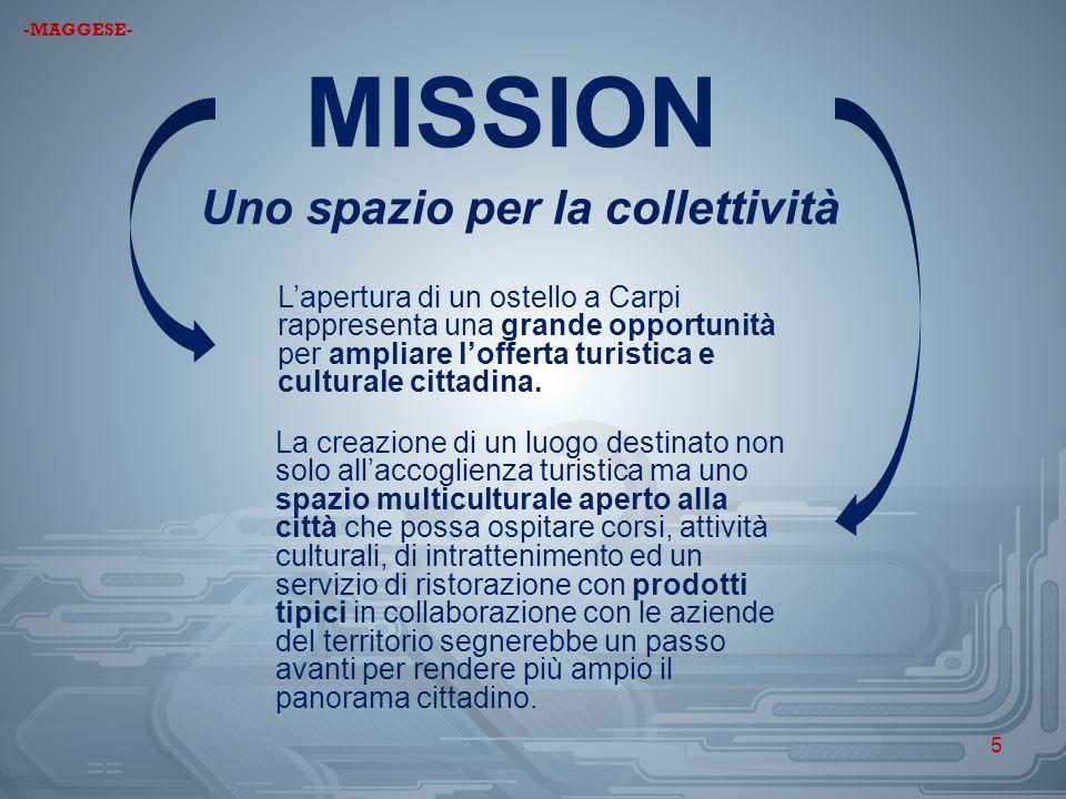 MISSION Uno spazio per la collettività L'apertura di un ostello a Carpi rappresenta una grande opportunità per ampliare l'offerta turistica e cultural