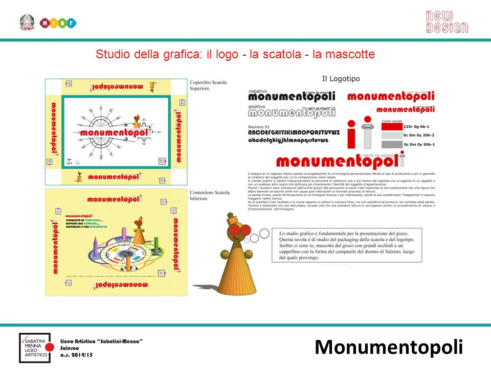 Monumentopoli Studio della grafica: il logo - la scatola - la mascotte
