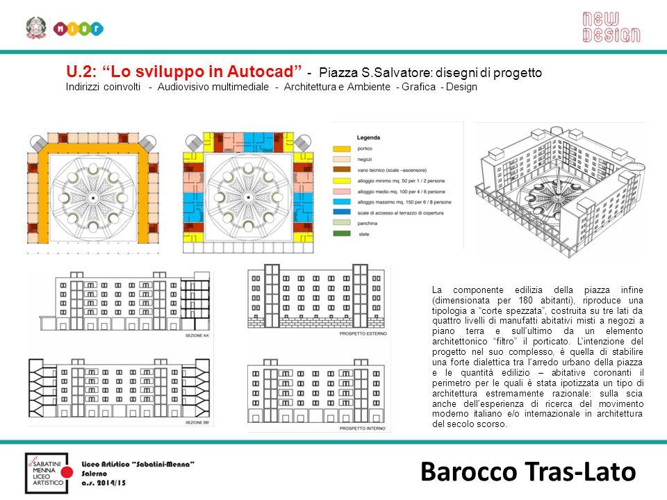 """Barocco Tras-Lato U.2: """"Lo sviluppo in Autocad"""" - Piazza S.Salvatore: disegni di progetto Indirizzi coinvolti - Audiovisivo multimediale - Architettur"""