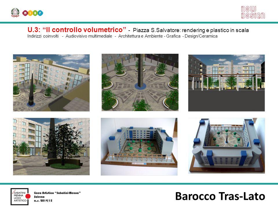 """Barocco Tras-Lato U.3: """"Il controllo volumetrico"""" - Piazza S.Salvatore: rendering e plastico in scala Indirizzi coinvolti - Audiovisivo multimediale -"""