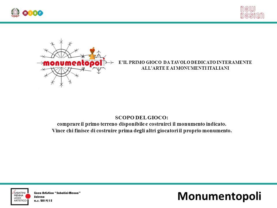 Monumentopoli E'IL PRIMO GIOCO DA TAVOLO DEDICATO INTERAMENTE ALL'ARTE E AI MONUMENTI ITALIANI SCOPO DEL GIOCO: comprare il primo terreno disponibile