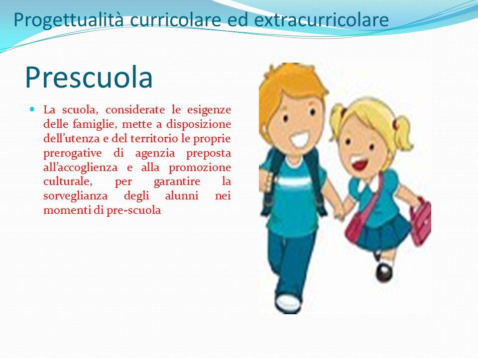 Prescuola La scuola, considerate le esigenze delle famiglie, mette a disposizione dell'utenza e del territorio le proprie prerogative di agenzia prepo