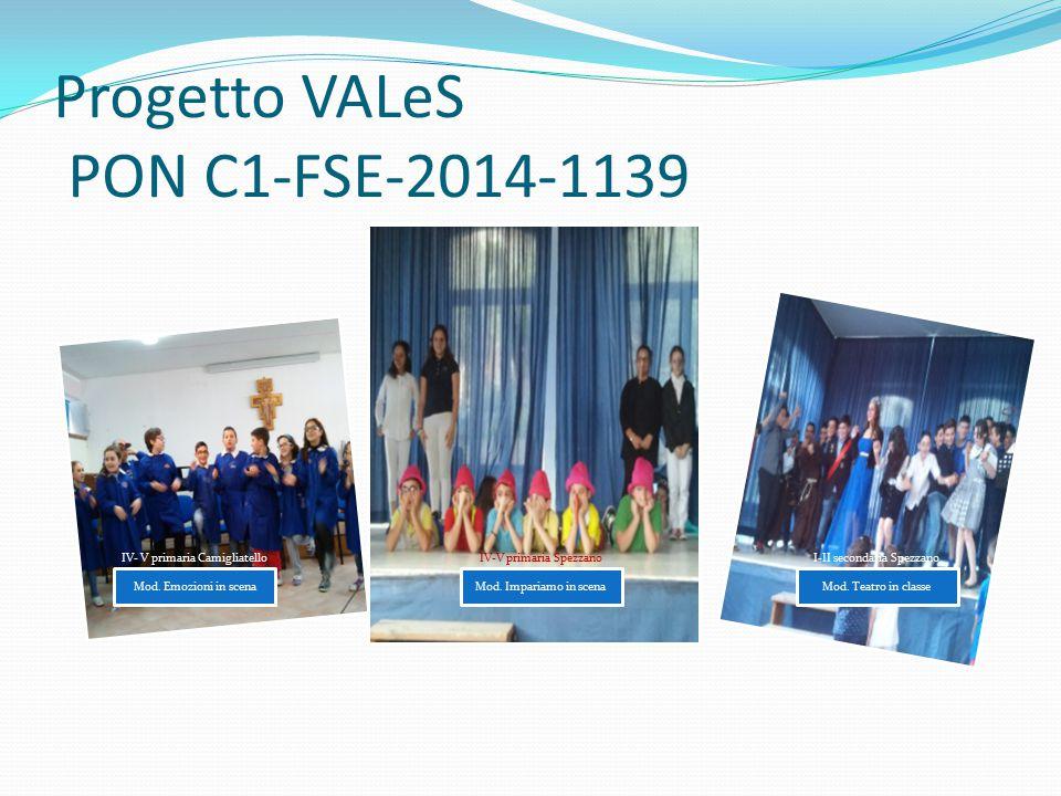 Progetto VALeS PON C1-FSE-2014-1139 Mod. Emozioni in scena IV- V primaria Camigliatello Mod. Impariamo in scena IV-V primaria Spezzano Mod. Teatro in
