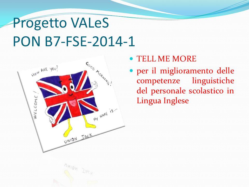 Progetto VALeS PON B7-FSE-2014-1 TELL ME MORE per il miglioramento delle competenze linguistiche del personale scolastico in Lingua Inglese
