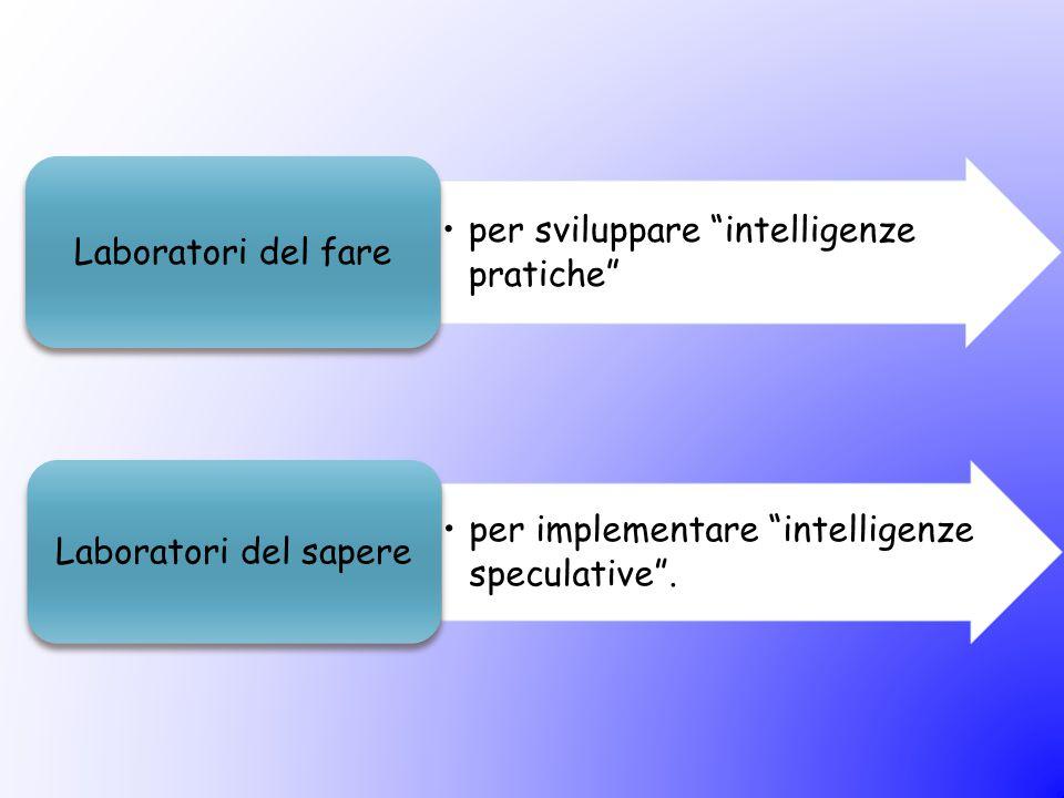 """per implementare """"intelligenze speculative"""". Laboratori del sapere per sviluppare """"intelligenze pratiche"""" Laboratori del fare"""
