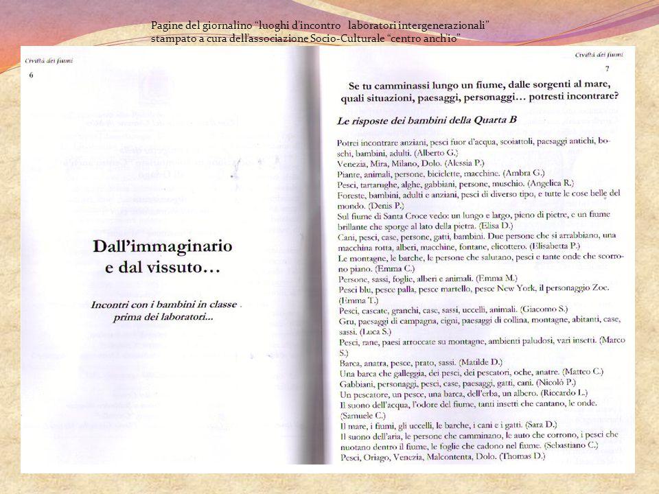 """Pagine del giornalino """"luoghi d'incontro laboratori intergenerazionali"""" stampato a cura dell'associazione Socio-Culturale """"centro anch'io"""""""