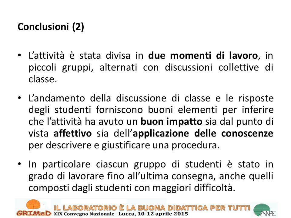 Conclusioni (2) L'attività è stata divisa in due momenti di lavoro, in piccoli gruppi, alternati con discussioni collettive di classe.