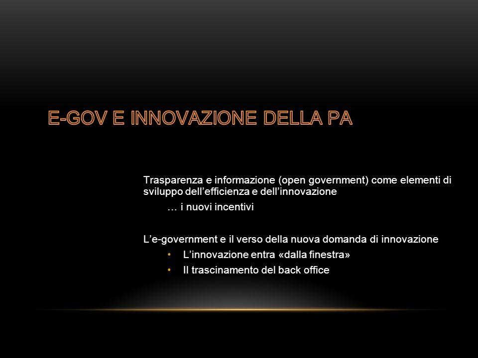 Trasparenza e informazione (open government) come elementi di sviluppo dell'efficienza e dell'innovazione … i nuovi incentivi L'e-government e il verso della nuova domanda di innovazione L'innovazione entra «dalla finestra» Il trascinamento del back office