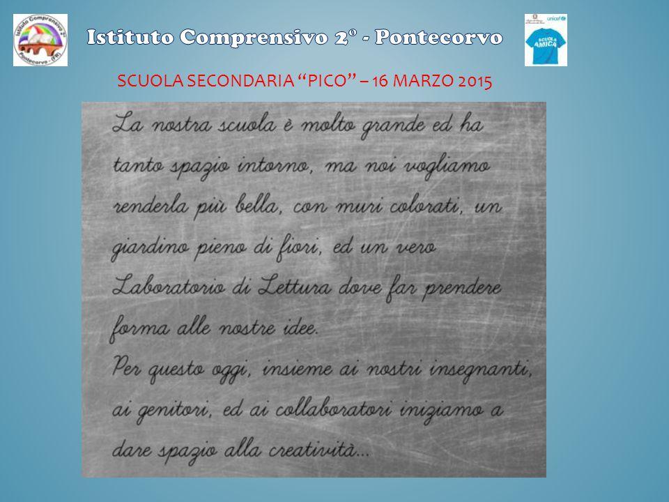 """SCUOLA SECONDARIA """"PICO"""" – 16 MARZO 2015"""