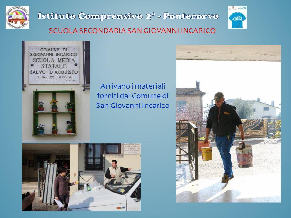 SCUOLA SECONDARIA SAN GIOVANNI INCARICO Arrivano i materiali forniti dal Comune di San Giovanni Incarico