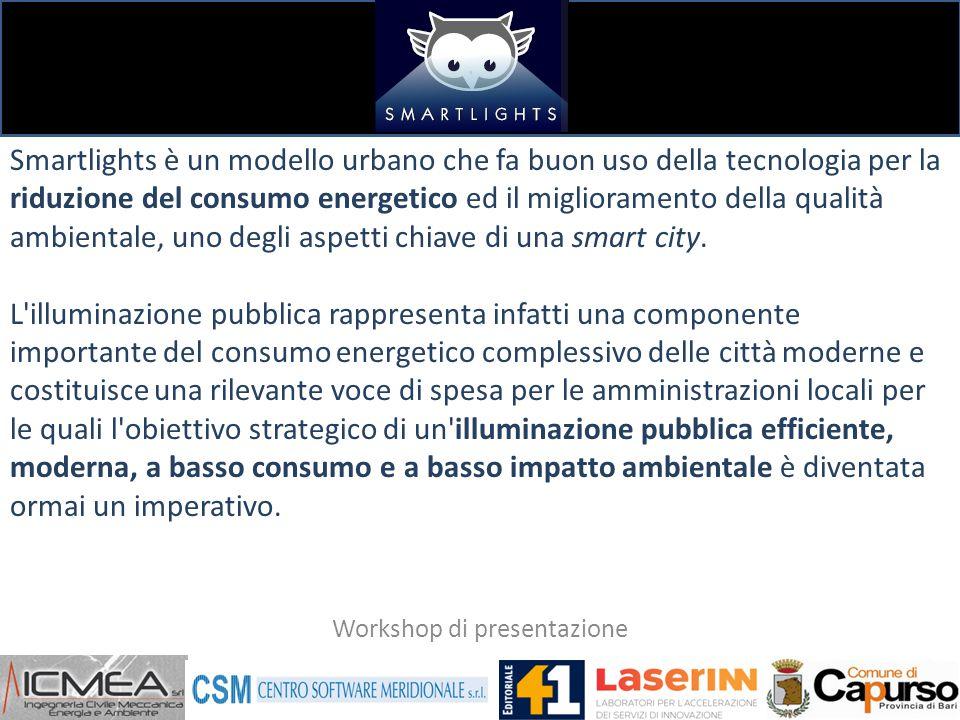 Smartlights è un modello urbano che fa buon uso della tecnologia per la riduzione del consumo energetico ed il miglioramento della qualità ambientale, uno degli aspetti chiave di una smart city.