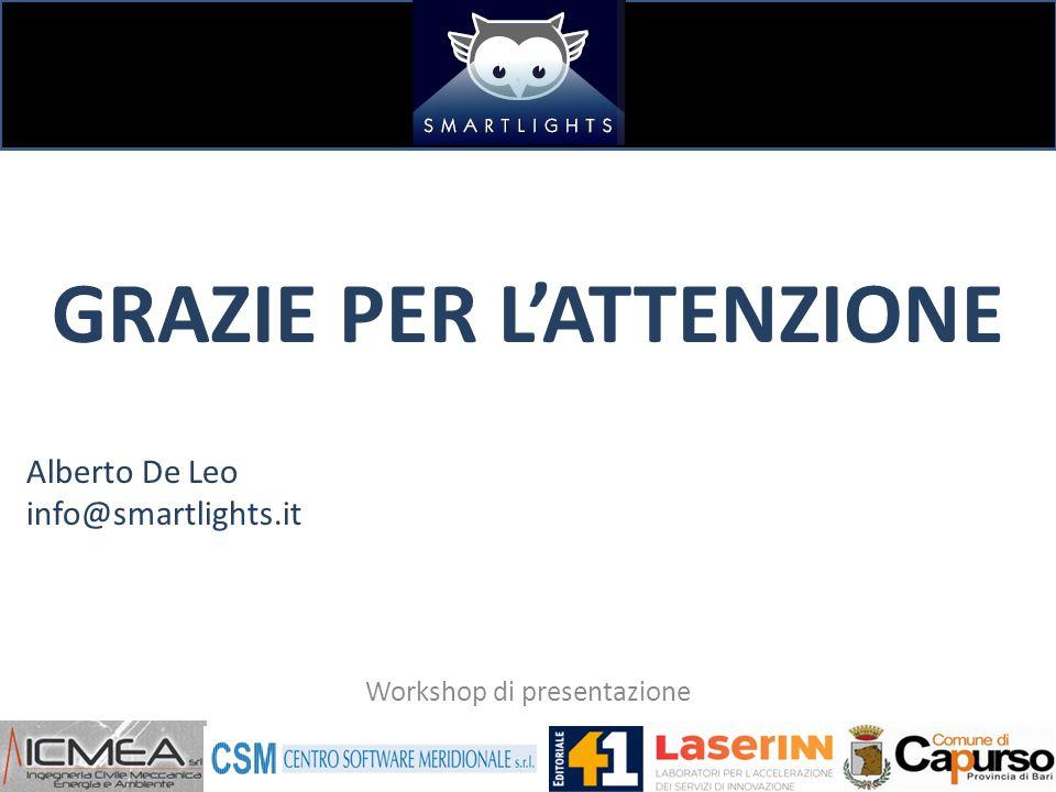 GRAZIE PER L'ATTENZIONE Alberto De Leo info@smartlights.it Workshop di presentazione