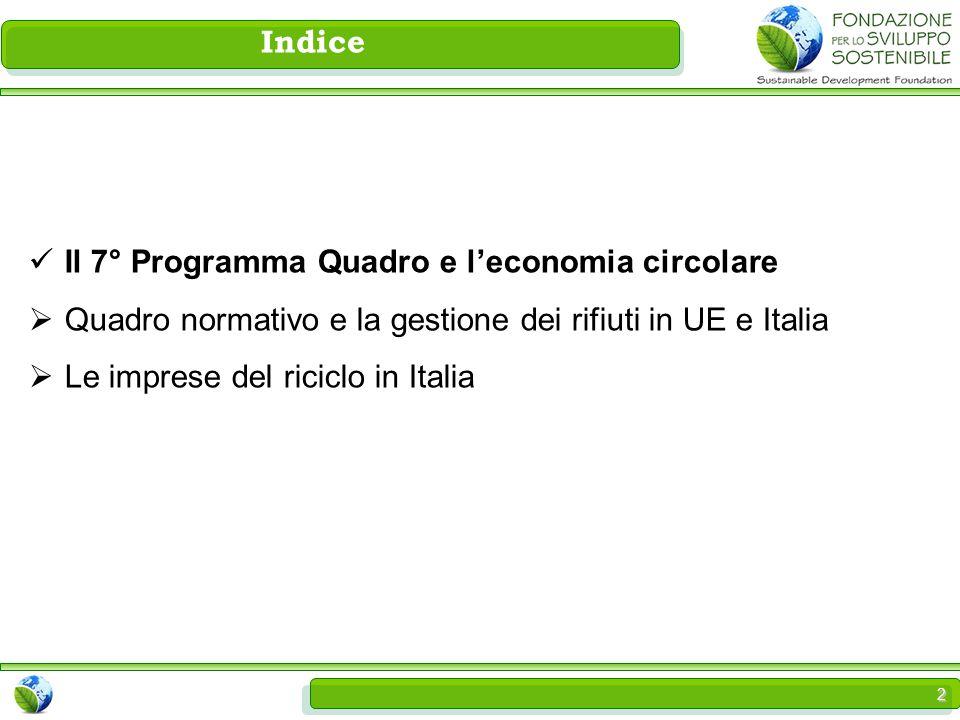 2 Il 7° Programma Quadro e l'economia circolare  Quadro normativo e la gestione dei rifiuti in UE e Italia  Le imprese del riciclo in Italia Indice