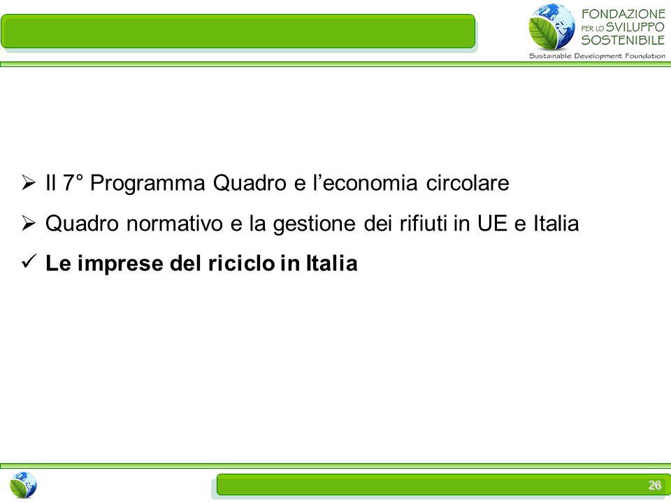 26  Il 7° Programma Quadro e l'economia circolare  Quadro normativo e la gestione dei rifiuti in UE e Italia Le imprese del riciclo in Italia