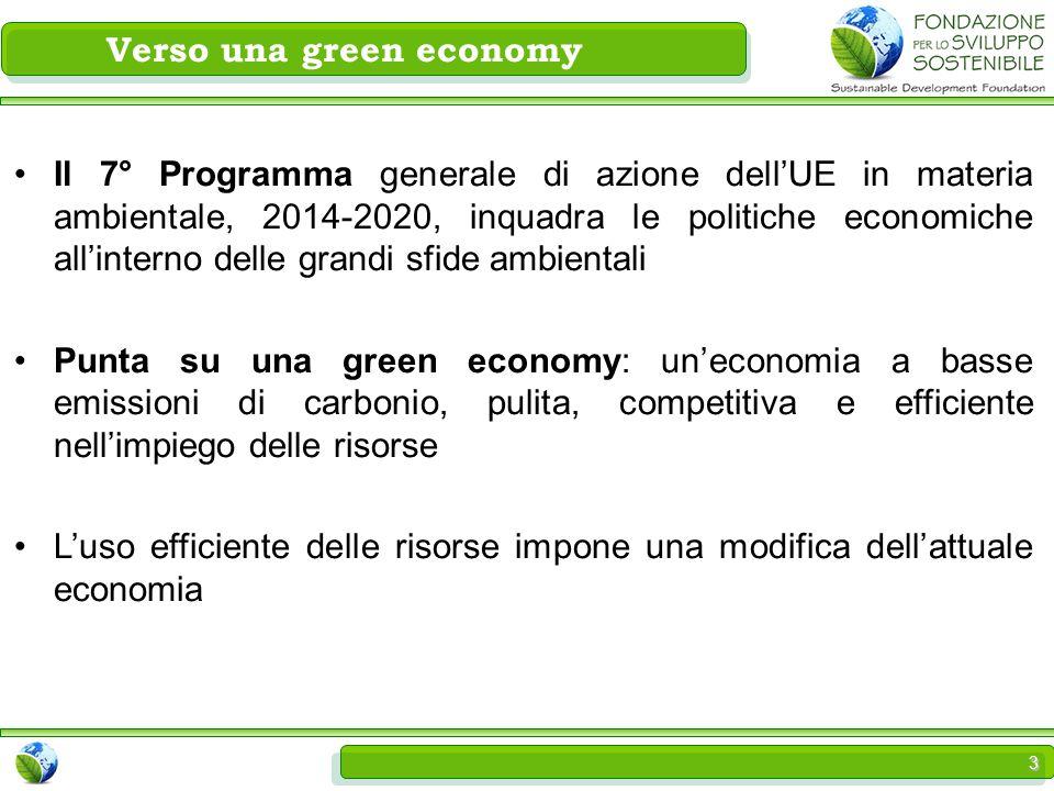 3 Verso una green economy Il 7° Programma generale di azione dell'UE in materia ambientale, 2014-2020, inquadra le politiche economiche all'interno delle grandi sfide ambientali Punta su una green economy: un'economia a basse emissioni di carbonio, pulita, competitiva e efficiente nell'impiego delle risorse L'uso efficiente delle risorse impone una modifica dell'attuale economia