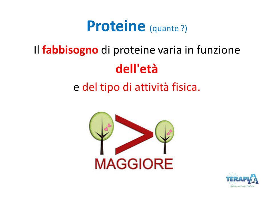 Proteine (quante ?) Il fabbisogno di proteine varia in funzione dell'età e del tipo di attività fisica.