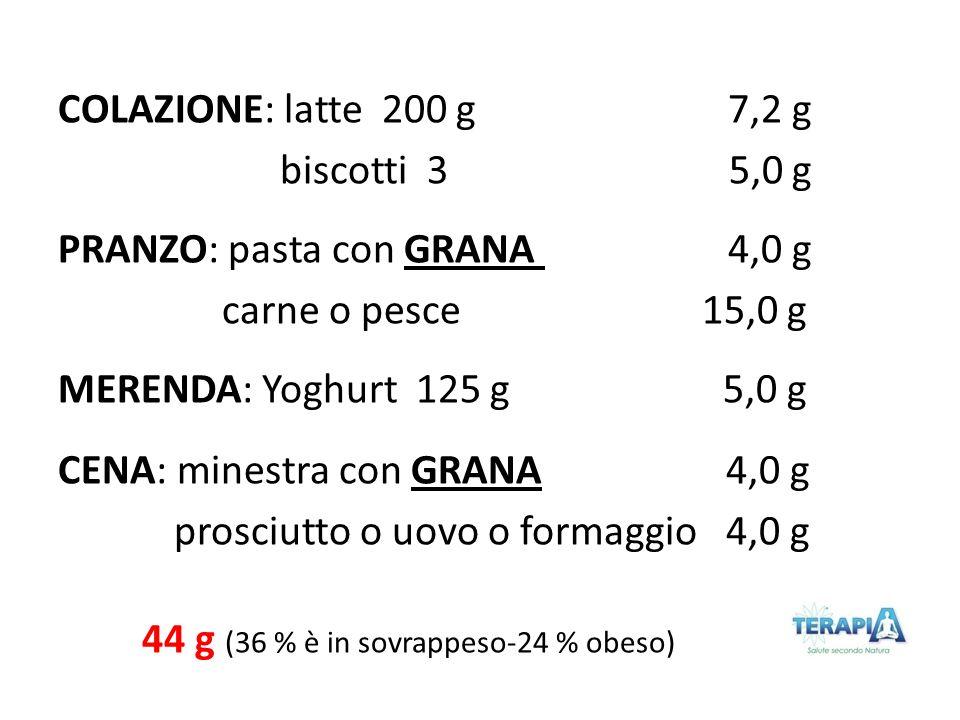COLAZIONE: latte 200 g 7,2 g biscotti 3 5,0 g PRANZO: pasta con GRANA 4,0 g carne o pesce 15,0 g MERENDA: Yoghurt 125 g 5,0 g CENA: minestra con GRANA