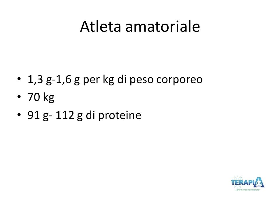 Atleta amatoriale 1,3 g-1,6 g per kg di peso corporeo 70 kg 91 g- 112 g di proteine