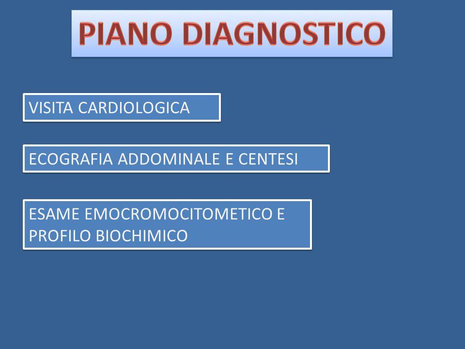 VISITA CARDIOLOGICA ECOGRAFIA ADDOMINALE E CENTESI ESAME EMOCROMOCITOMETICO E PROFILO BIOCHIMICO