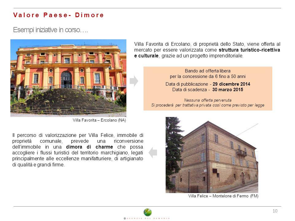 10 Valore Paese- Dimore Esempi iniziative in corso…. Villa Favorita – Ercolano (NA) Villa Favorita di Ercolano, di proprietà dello Stato, viene offert